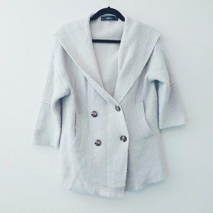 Zara Knit Oversized Double Breasted Hooded Jacket